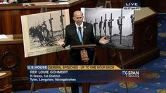 "Why Congressman Had Grim Crucifixion Posters on House Floor - Gohmert then expressed skepticism over a Muslim prayer service scheduled to be held today for the first time at the National Cathedral in Washington. Gohmert claimed the day was the 100th anniversary of the last sitting Caliph of the Ottoman Empire's call for jihad against non-believers, which Gohmert said was a ""catalyst which led to religiously-fueled genocide against Christian Armenians and Assyrians."""