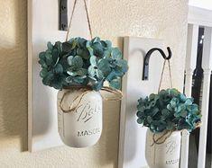 Set of 2 Mason Jar Sconces, Mason Jar Wall Decor, Wall Decor, Hanging Mason Jar Sconce, Mason Jar Decor, Wall Sconce, Farmhouse Decor, Teal