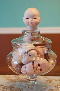 My jarful of creepy doll heads wish you a Happy Halloween!