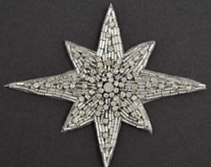 Star Rhinestone Beaded Applique Patch Bridal Applique x USD) by JoyceTrimming Embroidery Jewelry, Beaded Embroidery, Brooch Corsage, Wedding Belts, Wedding Dress, Sequin Appliques, Applique Templates, Beaded Brooch, Little Star
