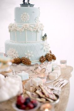 Blue Winter Wedding Cake