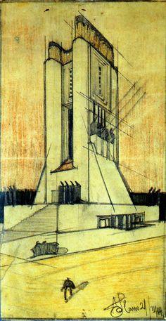 The Khooll Movement In Architecture, Architecture Concept Drawings, Futuristic Architecture, Historical Architecture, Art And Architecture, Antonio Sant Elia, Italian Futurism, Retro Futurism, Seagram Building