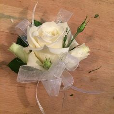 White rose and lisianthus corsage #corsage #white #wedding #vancouver #florist #family
