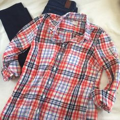 J. Crew lightweight flannel Adorable flannel from J. Crew. Some piling (see last pic) but good condition other than that!     RefH1403 J. Crew Tops Button Down Shirts
