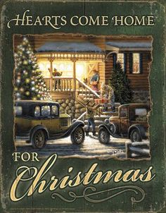 """The family is ready for Holiday Cheer as they gather with gifts with the house decorated with Christmas Lights Sign is 12.5"""" W x 16"""" H"""