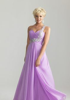 One Shoulder A line Empire Sleeveless Chiffon Prom Gowns - 1300104384B - US$129.99 - BellasDress