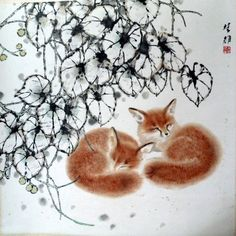 Foxes in the Snow. Fang Chuxiong (Chinese b. 1950)
