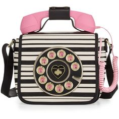 Betsey Johnson Betsey's Hotline Phone Crossbody Bag ($64) ❤ liked on Polyvore featuring bags, handbags, shoulder bags, stripe, betsey johnson crossbody, cell phone shoulder bag, top handle handbags, metallic purse and cell phone crossbody