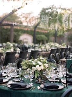 An Elegant Emerald Green and Black Wedding at the Vintage Estate in 2020 Green Wedding Decorations, Wedding Centerpieces, Wedding Events, Wedding Reception, Wedding Tables, Budget Wedding, Emerald Green Weddings, Emerald Wedding Theme, Sage Wedding