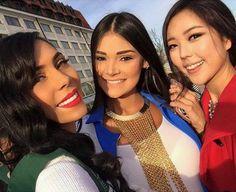 Andrea Rosales Miss Venezuela posando junto a Miss Dominican Republic y Miss Japon para sus Seguidores en Las Redes sociales en el Miss Earth 2015,
