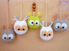 Crocheted amigurumi owl Keychain