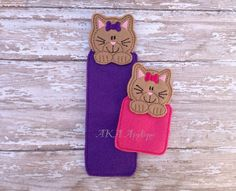 Items similar to Chloe Kitten - Cat Bookmark ITH Embroidery Design on Etsy Machine Embroidery Designs, Embroidery Patterns, Pencil Toppers, Bookmarks, Cats And Kittens, Cute Cats, Applique, Kitty, Chloe
