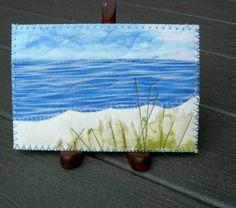 Landscape Quilted Postcard, Fabric Postcard, Ocean, Beach, Postcard,Fiber Art…