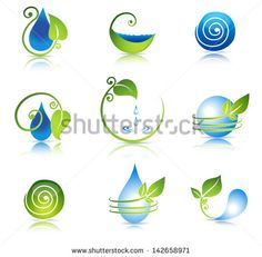 Beautiful water and leaf symbol combinations. Clean and fresh feeling. Isolated on a white background.