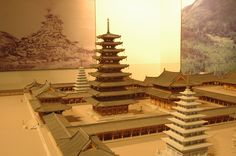 Model of Mireuk-sa Temple, the largest Buddhist establishment in the Kingdom of Baekje, established in the year 602, by King Mu.  미륵사지 모형
