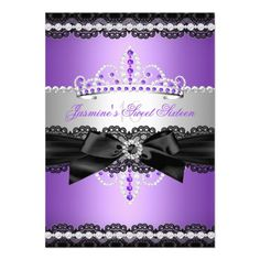 Purple Sweet 16 Birthday Party Silver Black Lace 4.5x6.25 Paper Invitation Card