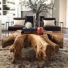 18 wonderful driftwood table ideas you need to see - DIY İDEEN - Holz Tisch - Wood Coffee Table Tree Stump Furniture, Tree Stump Table, Rustic Furniture, Furniture Design, Furniture Ideas, Modern Furniture, Antique Furniture, Outdoor Furniture, Furniture Storage