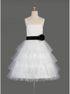 A-Line/Princess Knee-length Flower Girl Dress - Tulle/Charmeuse Sleeveless Square Neckline With Sash