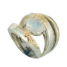 Coronation Day (CD001) Stylish 925 sterling silver spiral ring featuring a moonstone with a soft touch of 9k gold. Wide band.