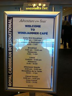 Royal Caribbean International - Adventure of the Seas, Windjammer Cafe menu