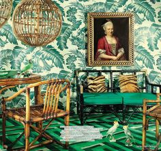 Tropical Style wallpaper and furniture