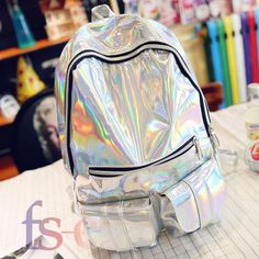 46a930922f95 Fashion Women HOLOGRAPHIC Gammaray Hologram Backpack Shoulder Bag Travel  School · Girl backpacksSchool ...
