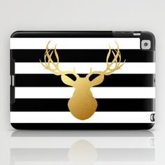 Deer head silhouette - Gold foil black and white stripe design iPad Case by Jaclyn Rose Design - $60.00