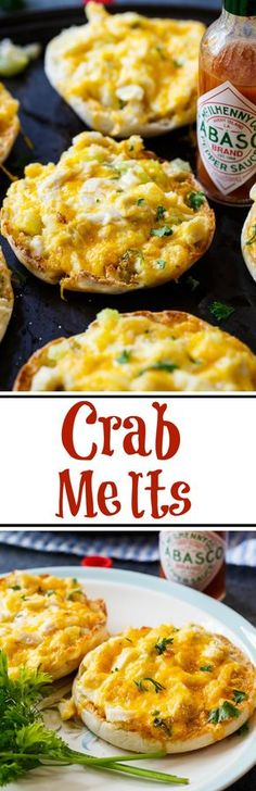 Cheesy Crab Melts spiced up with Tabasco Sauce. Fish Recipes, Seafood Recipes, Appetizer Recipes, Cooking Recipes, Seafood Appetizers, Meat Recipes, Crab Dishes, Seafood Dishes, Seafood Pasta
