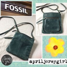 "{FOSSIL}~VTG~--DISTRESSED CROSS-BODY Fossil hunter green crossbody. Has Fossil logo on front, flowers on zipper pulls. Back has a roomy extra pocket for keys, phone etc. That pocket measures: 5 1/2 X 5 1/2"" . The bag itself measures: 8"" X 8""....inside has deep pocket as well as a zipper pocket. Has little wear in bottom corners from normal use. No wear on handles. Strap is 26"". Gorgeous bag, great distressed look. Great buy. I ship same day. Ty Fossil Bags Crossbody Bags"