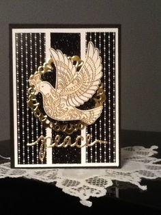 Dove of Peace, Winter Wonderland DSP and black glimmer card stock, Divinely inspired! Stampin up