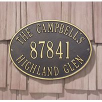 Address Plaque for the house   Hawthorne Oval Standard Wall Three Line