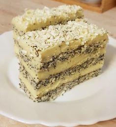 Mákos vaníliás krémes – Ez Nem Semmi Sweet Desserts, Sweet Recipes, Cake Recipes, Dessert Recipes, Hungarian Desserts, Hungarian Recipes, Polish Cake Recipe, Cakes And More, Recipes