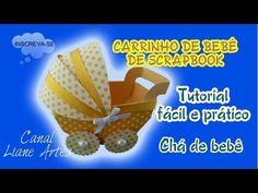 CARRINHO DE BEBÊ EM SCRAPBOOK PARA LEMBRANCINHA CHÁ DE BEBÊ