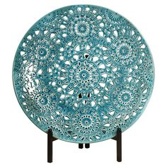 Have to have it. Lopez Floral Pierced Charger with Iron Stand - $135.99 @hayneedle