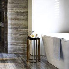 Marble bathroom with freestanding bathtub. #bathroom #interiordesign