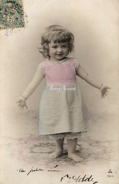 First Ta Da. Vintage photo postcard of little girl. by IvoryCoast