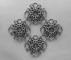 I really like chain maille motifs because you can use one as pendant or make two for earrings. Depending...