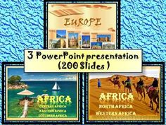 This bundle includes: 3 PowerPoint presentationThis is a super fun and interactive slide show. 1. Africa- Central Africa, Eastern Africa, Southern AfricaPowerPoint (62 Slides)