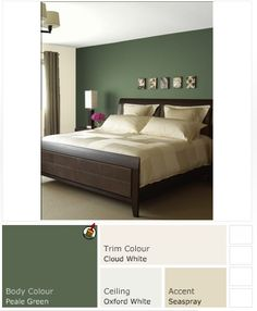 Master Bedroom Paint (Benjamin Moore Peale Green) - Combine with Stained board headboard & similar color bedding with wine colored throw.