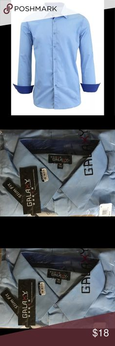 NWT Galaxy Men's Long Sleeve Button Shirt Blue M Men's Long Sleeve Button-Down Shirt: Light Blue/Medium Galaxy by Harvic Dress Shirt Slim Fit NWT Shirts Dress Shirts