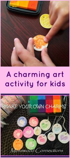 Fingerprint Charms: do two thumbprints side by side then draw a butterfly body & antenna. Make fingerprint charms. These charms make lovely homemade gifts. Art Activities For Kids, Craft Projects For Kids, Arts And Crafts Projects, Fun Crafts, Craft Ideas, Camping Activities, Fingerprint Crafts, Fingerprint Jewellery, Fabric Bowls