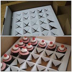 transportar cupcakes DIY caja de pizza                                                                                                                                                                                 Mehr