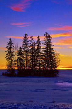 river, winter, trees, ice, islet Wallpaper Apple WallpapeprsCraft