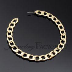 """3"""" D Fashion Chain Hoop Earrings $3.99"""