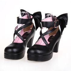 Dolly Lolita Harajuku Japanese Leather Bow High-Heeled Shoes