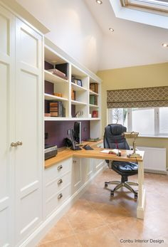Home office with hand painted units, oak desk top, Amtico floor and Roman blind
