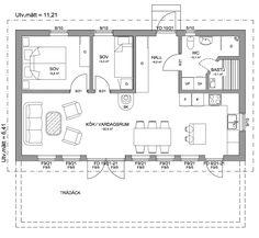 Stil 72 – Fritidshus från Hudikhus Floor Plan Drawing, Compact Living, Bedroom House Plans, Tiny House Plans, Cabin Plans, Scandinavian Home, My House, Floor Plans, House Design