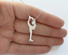 Figure Skater Necklace Pendant, Sterling Silver Ice Skating Woman Silhouette, Hand Cut