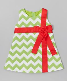 $24.99 marked down from $50! Green Chevron Present Dress - Infant, Toddler & Girls #green #red #infant #toddler #girls #christmas #dress #sale #zulily #zulilyfinds