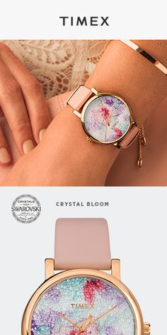 Crystal Bloom Collection - This pink floral dial design shimmers thanks to innovative fabric made of Swarovski® crystals.